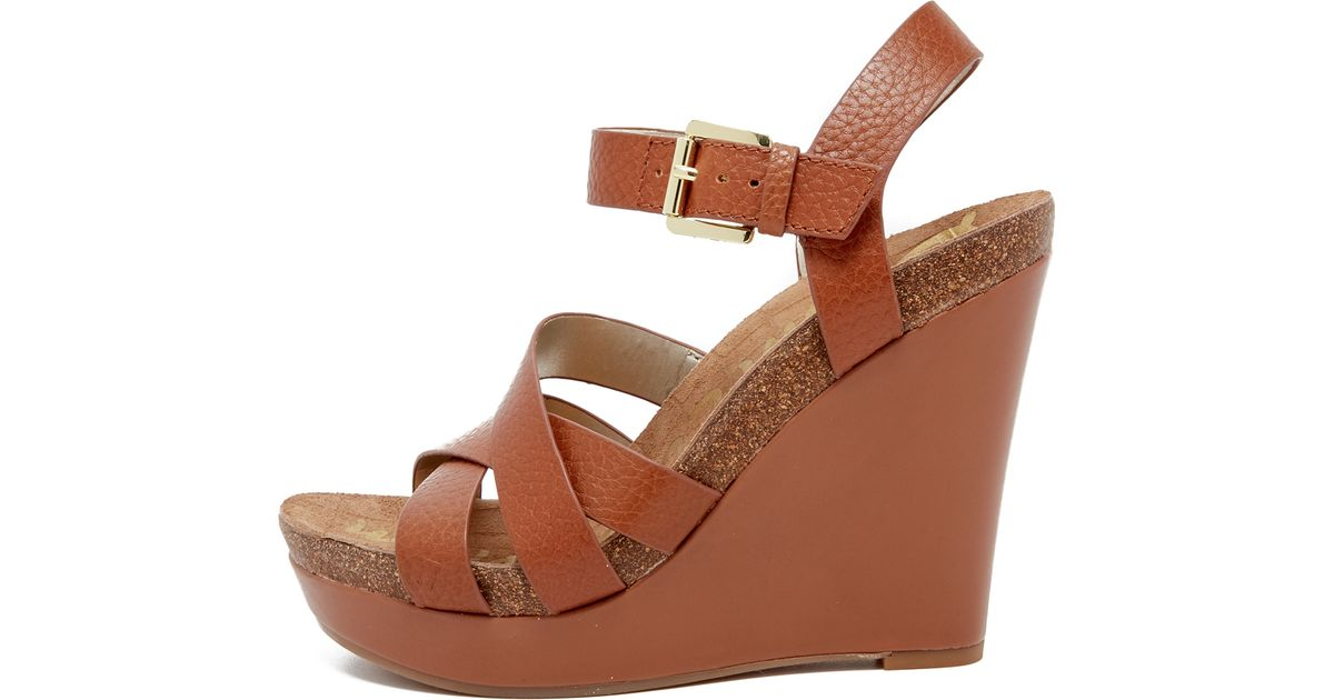 sam edelman nelson wedge sandals in brown saddle save