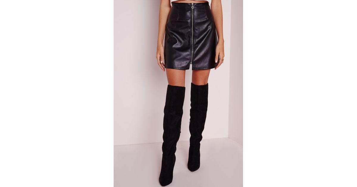 missguided zip front faux leather a line skirt black in