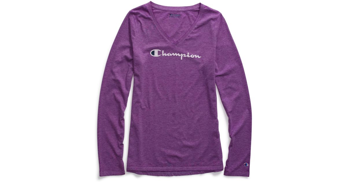 279c4e7c27b2 Champion Authentic Washed Long-sleeve T-shirt in Purple - Lyst