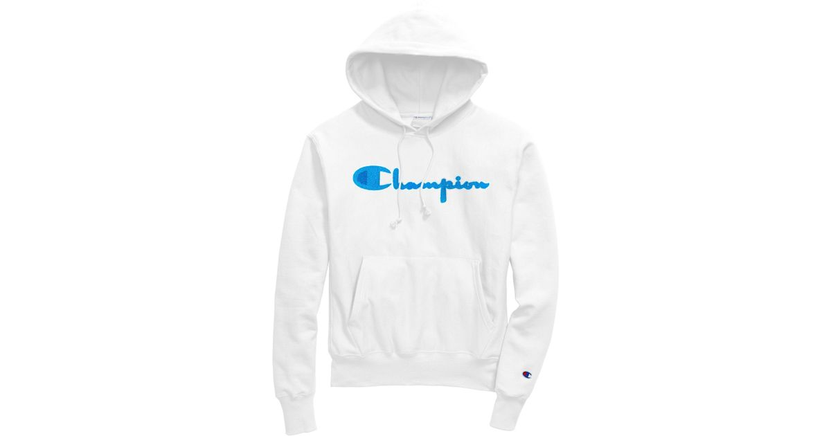 82a1368b6 Champion Exclusive Life® Reverse Weave® Pullover Hoodie, Neon Blue Chenille  Logo in White for Men - Lyst