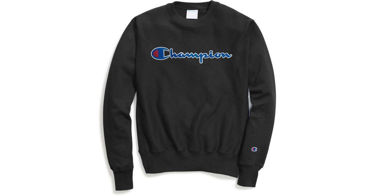ec9be807f75a Champion Life® Reverse Weave® Crew, Chain Stitch Script Logo in Black for  Men - Lyst