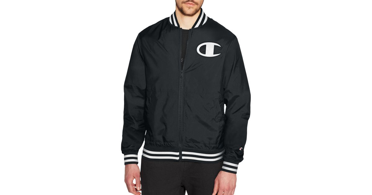 381f7df1 Champion Life® Satin Baseball Jacket in Black for Men - Lyst