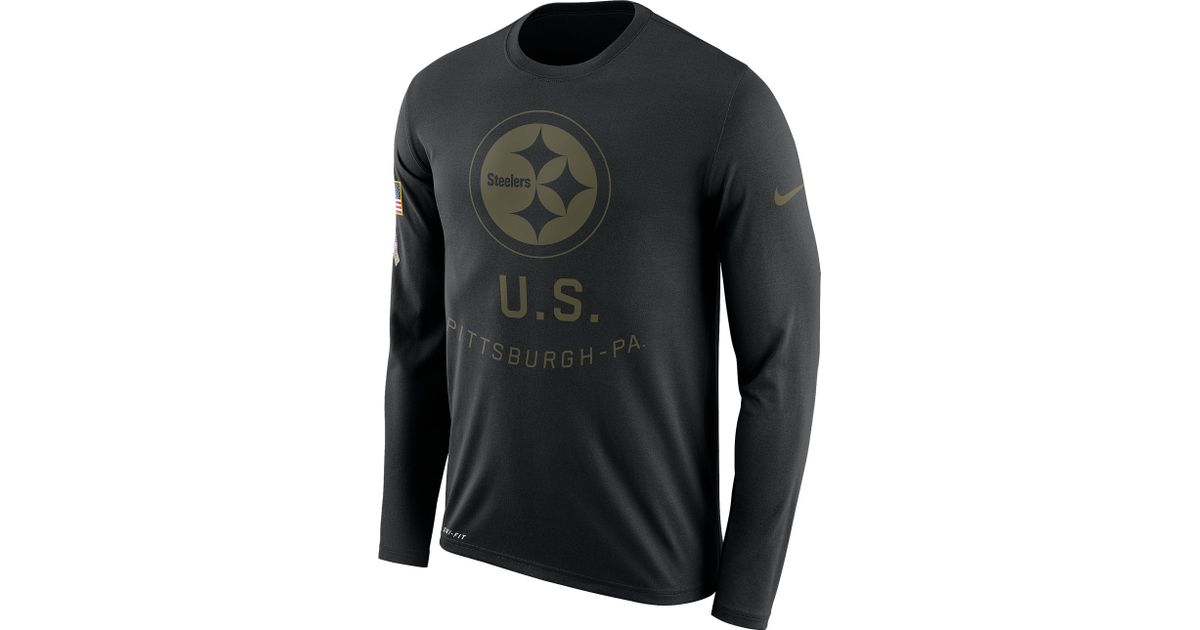 brand new 3f072 aea60 Nike - Black Pittsburgh Steelers Nfl Salute To Service Legend L/s T-shirt  for Men - Lyst
