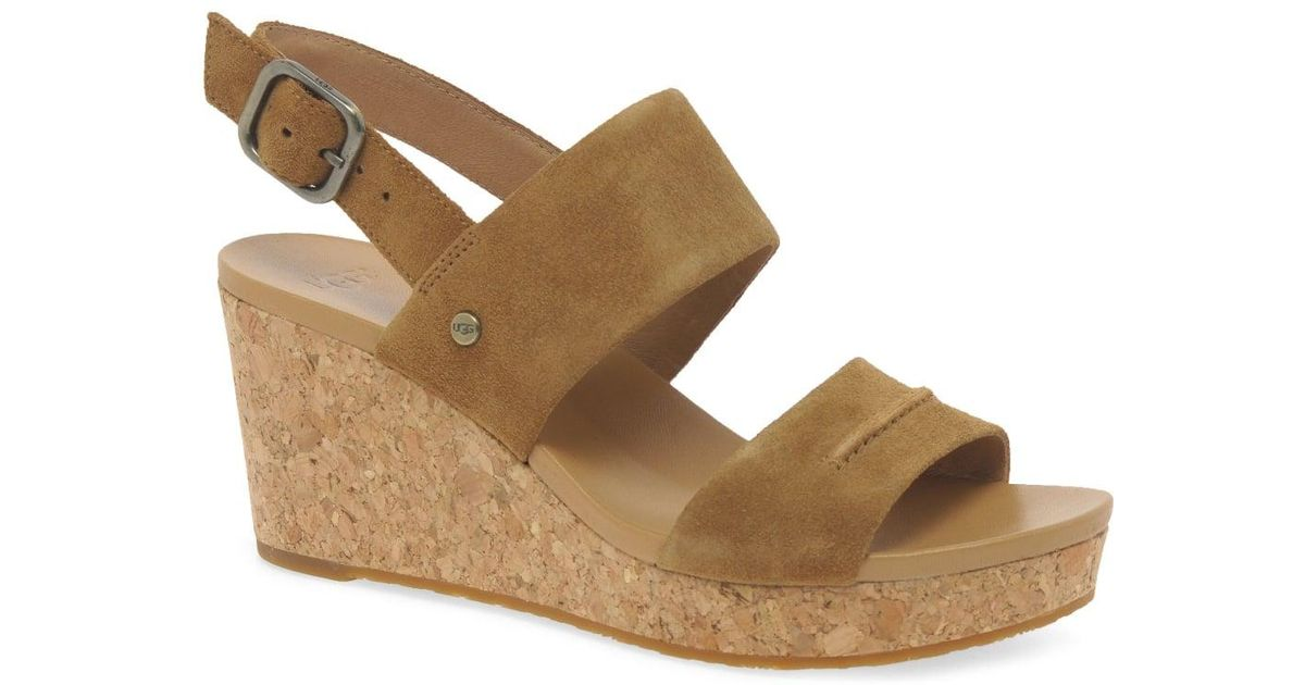 0b20307052b Ugg - Brown Elena Ii Womens Wedge Heel Sandals - Lyst