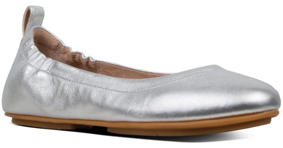 9b484fbf1ea8 Lyst - Fitflop Allegro Leather Ballet Flats in Metallic - Save 26%