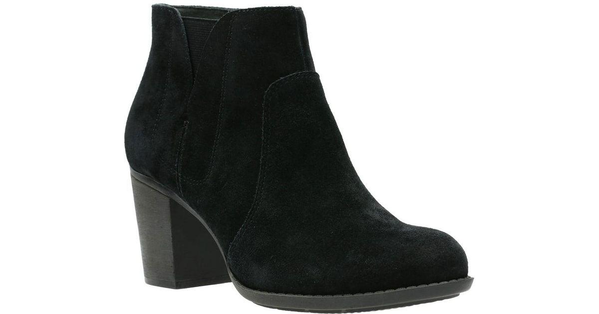 126047cc0e4 Clarks Black Enfield Senya Womens Suede Ankle Boots
