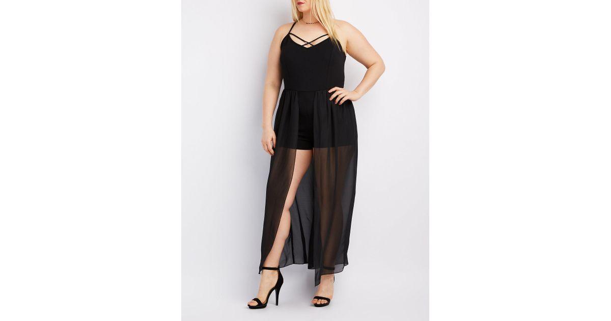 46a56652e9b3 Lyst - Charlotte Russe Plus Size Strappy Layered Maxi Romper in Black