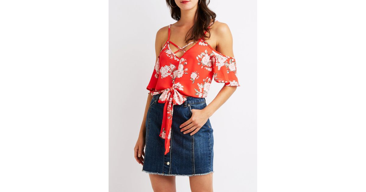 cd4384a1034 Lyst - Charlotte Russe Floral Caged Cold Shoulder Top in Red