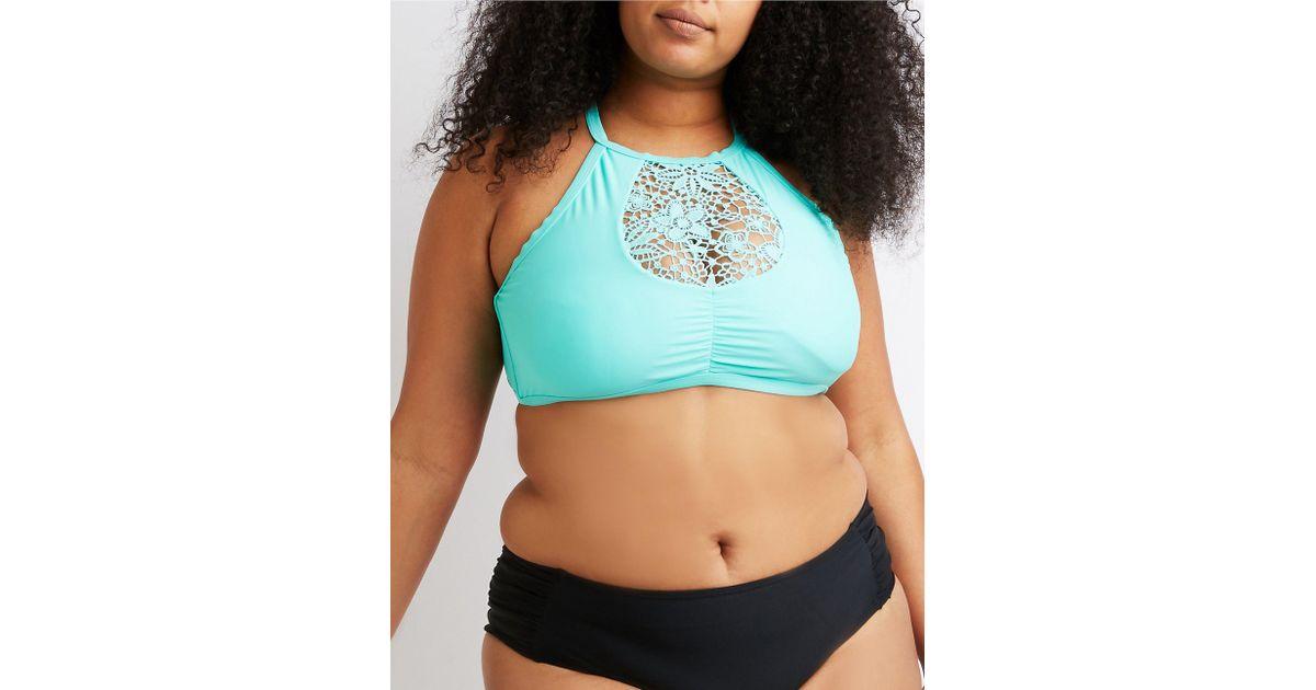 54de249fe50 Lyst - Charlotte Russe Plus Size Crochet Bikini Top in Blue