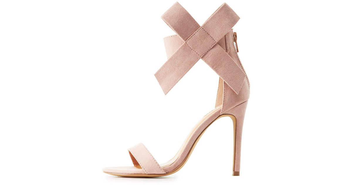 08aa7486a6dd Lyst - Charlotte Russe Bow Two-piece Sandals in Pink