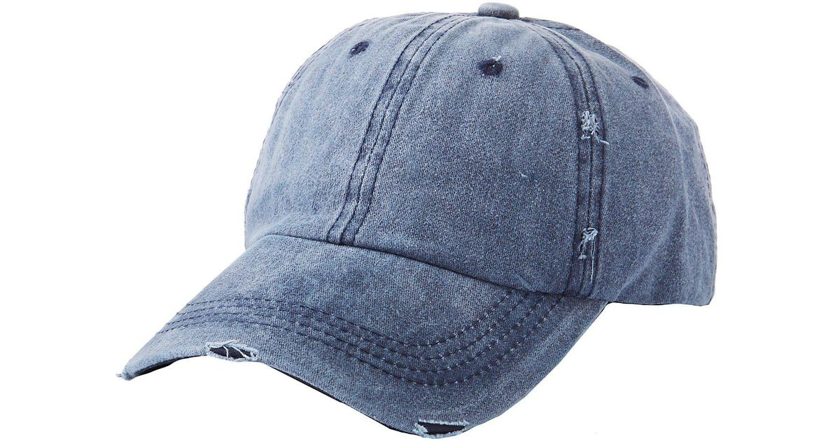Lyst - Charlotte Russe Bad Hair Day Baseball Hat in Blue e2b0a05fd7c