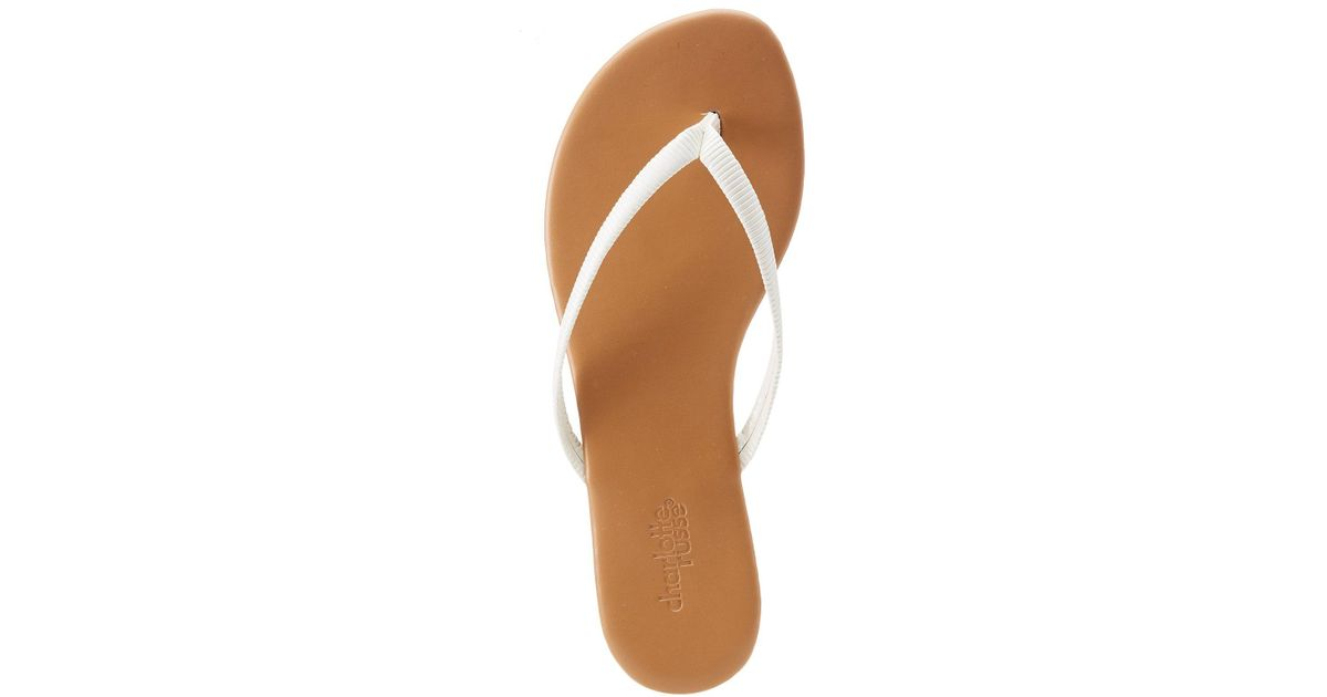 441909598248 Lyst - Charlotte Russe Patent Flip Flop Sandals in White