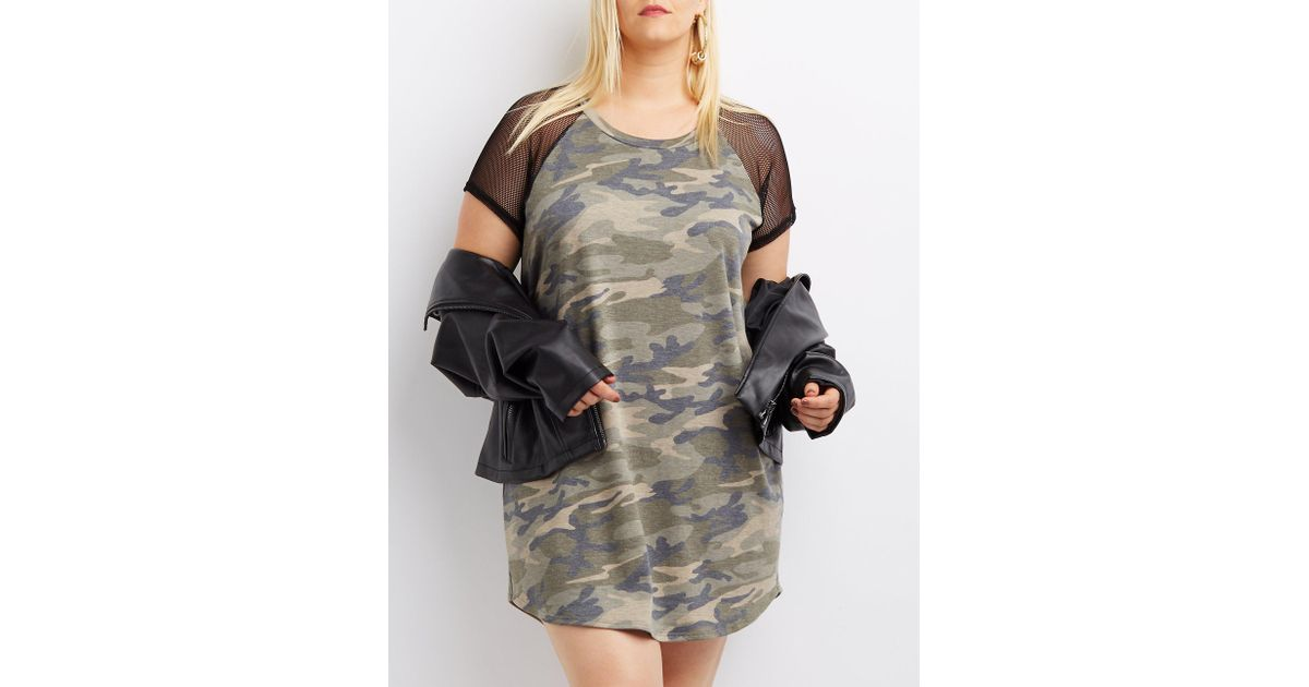 9fee24957e6 Lyst - Charlotte Russe Plus Size Mesh-trim Camo T-shirt Dress in Green