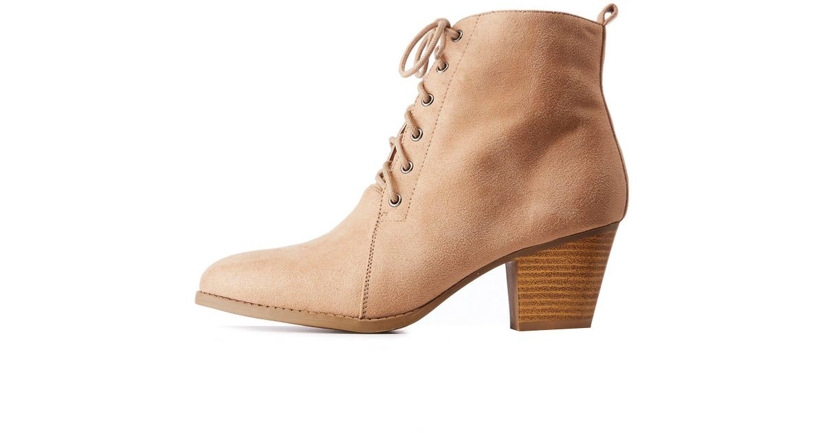 7626fa6c0de0 Lyst - Charlotte Russe Faux Suede Lace Up Booties in Natural - Save 34%