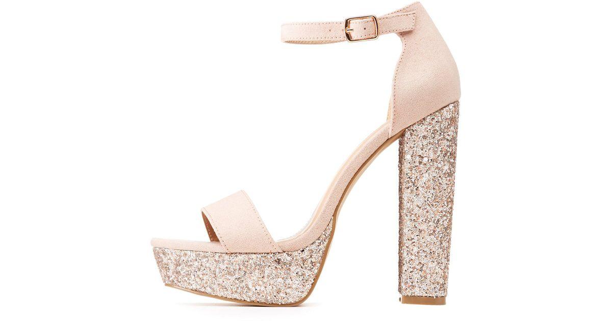 af018f4cc1f4 Lyst - Charlotte Russe Glitter Ankle Strap Platform Sandals