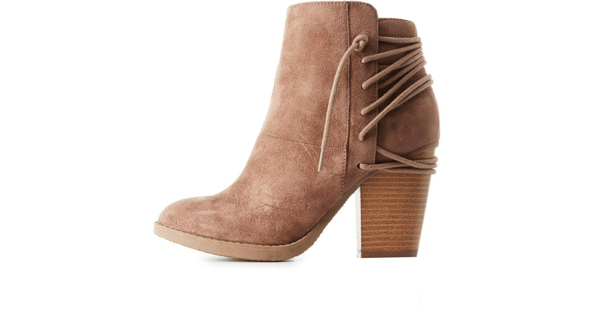 d4e3253295de Lyst - Charlotte Russe Lace-up Back Ankle Booties in Brown
