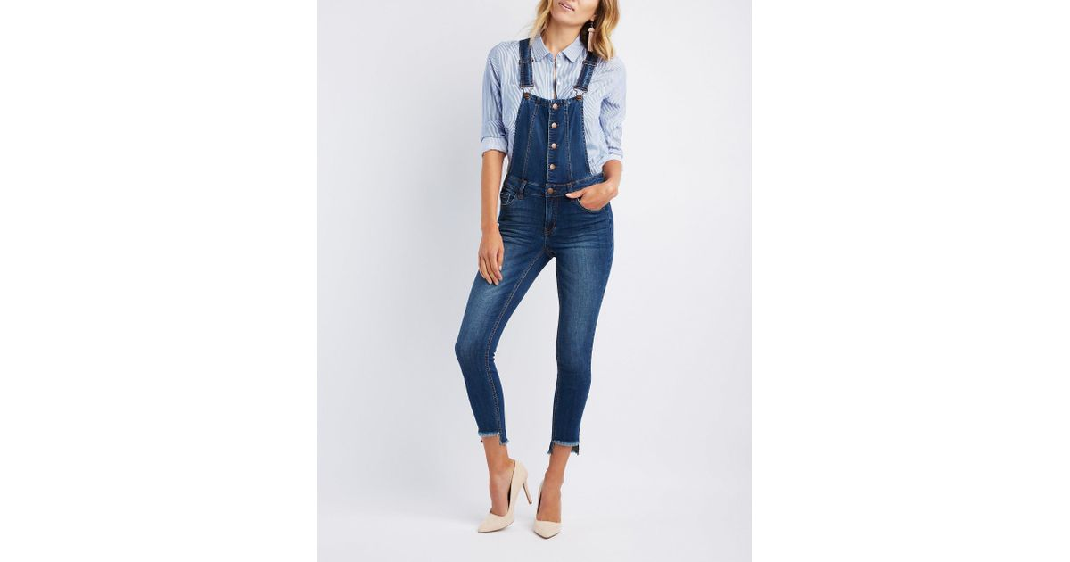 a95501aa99 Charlotte Russe - Blue Refuge Button-up Denim Overalls - Lyst