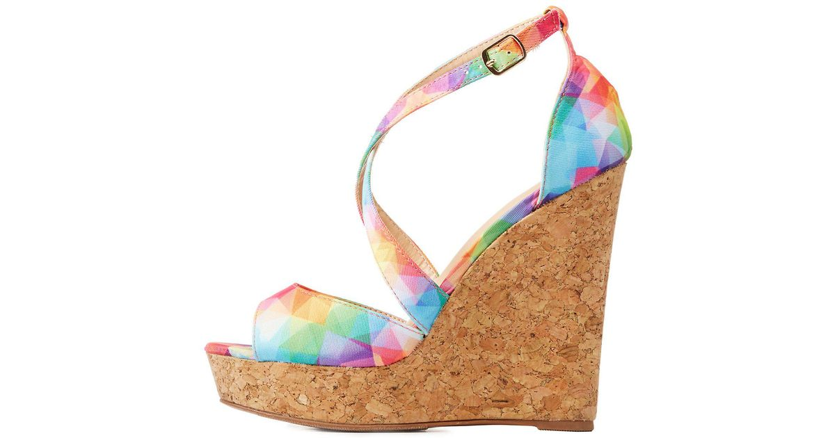 0e91ec5b3ed Lyst - Charlotte Russe Strappy Cork Wedge Sandals in Blue