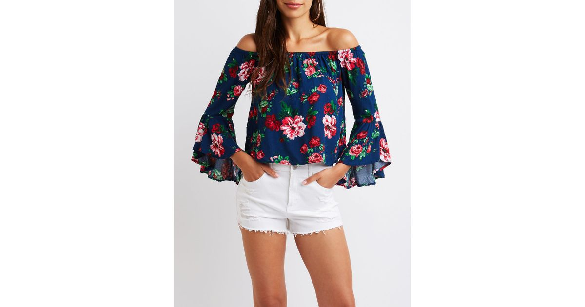 63cb11d3502e28 Lyst - Charlotte Russe Floral Off The Shoulder Top in Blue