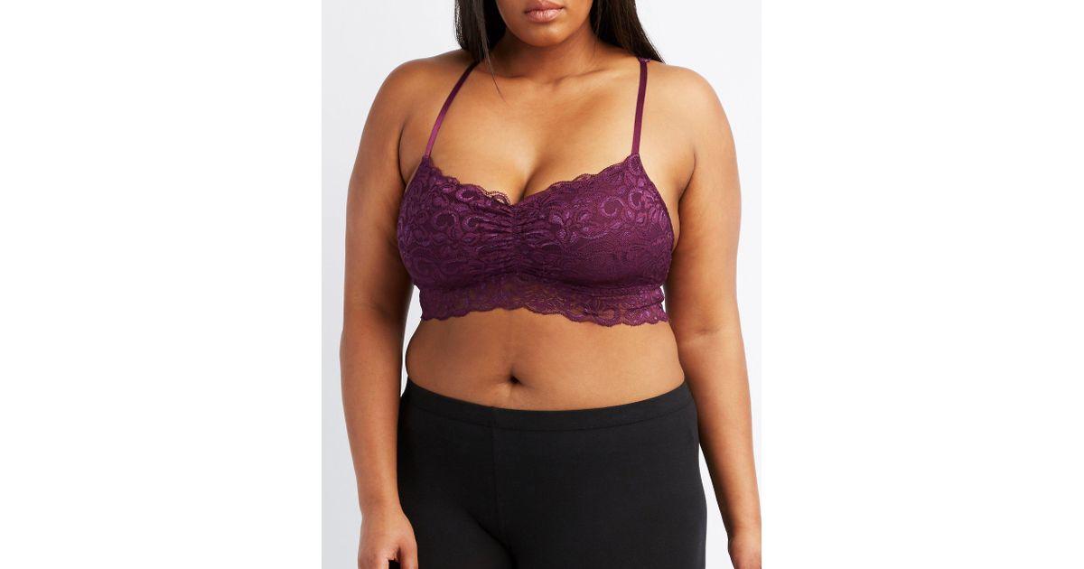 2e42ea15b7 Lyst - Charlotte Russe Plus Size Lace Racerback Bralette in Purple