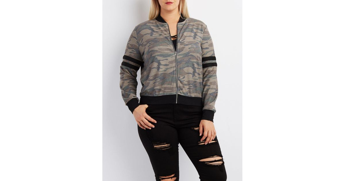 9789a42511b Lyst - Charlotte Russe Plus Size Camo Varsity Stripe Bomber Jacket in Gray