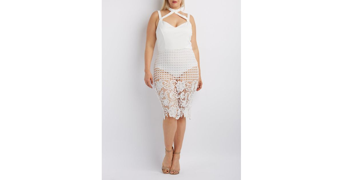 Lyst Charlotte Russe Plus Size Crochet Skirt Caged Bodycon Dress