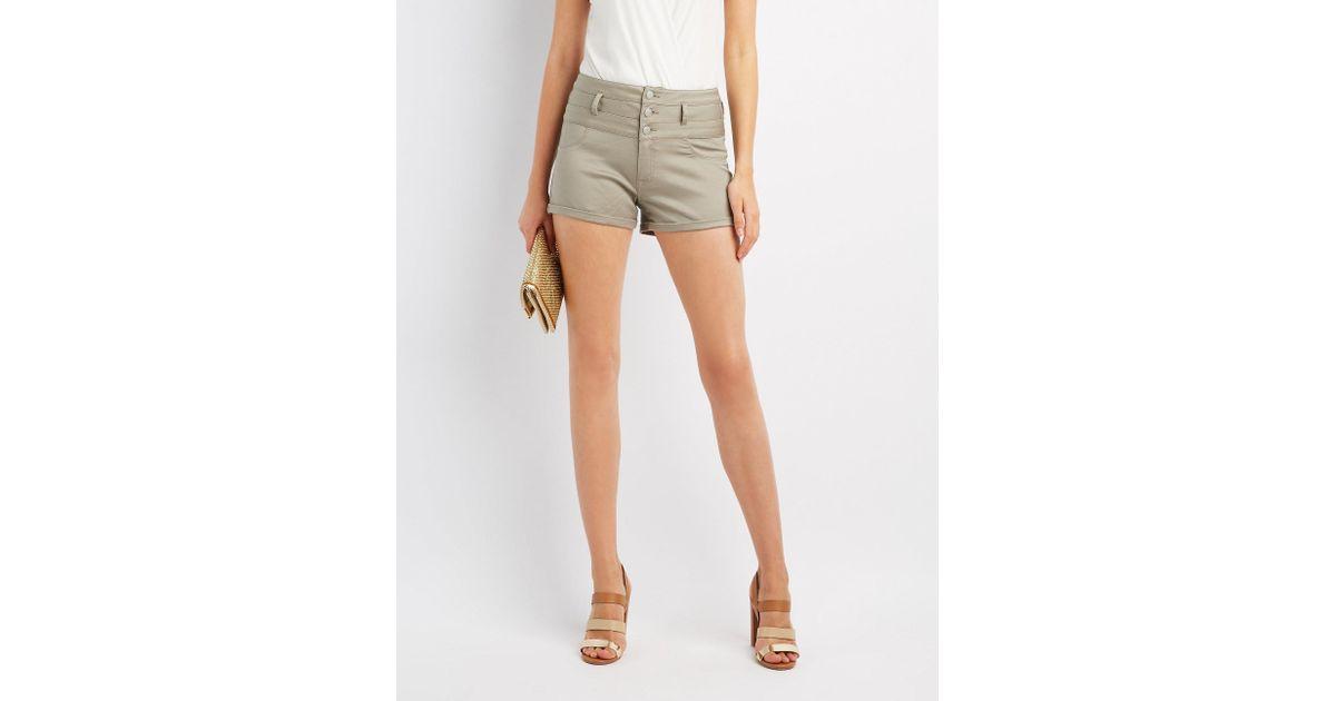 7998610dc9 Lyst - Charlotte Russe Refuge Shortie Denim Shorts