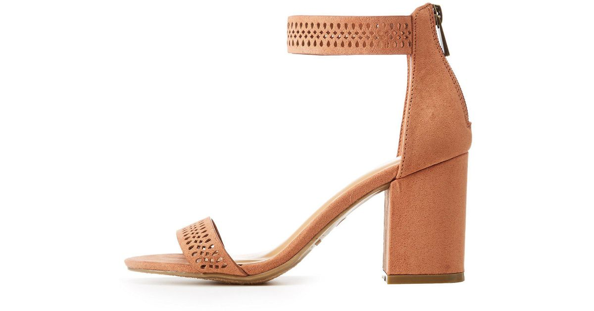 6bbfd4ba861 Charlotte Russe - Multicolor Bamboo Perforated Ankle Strap Sandals - Lyst