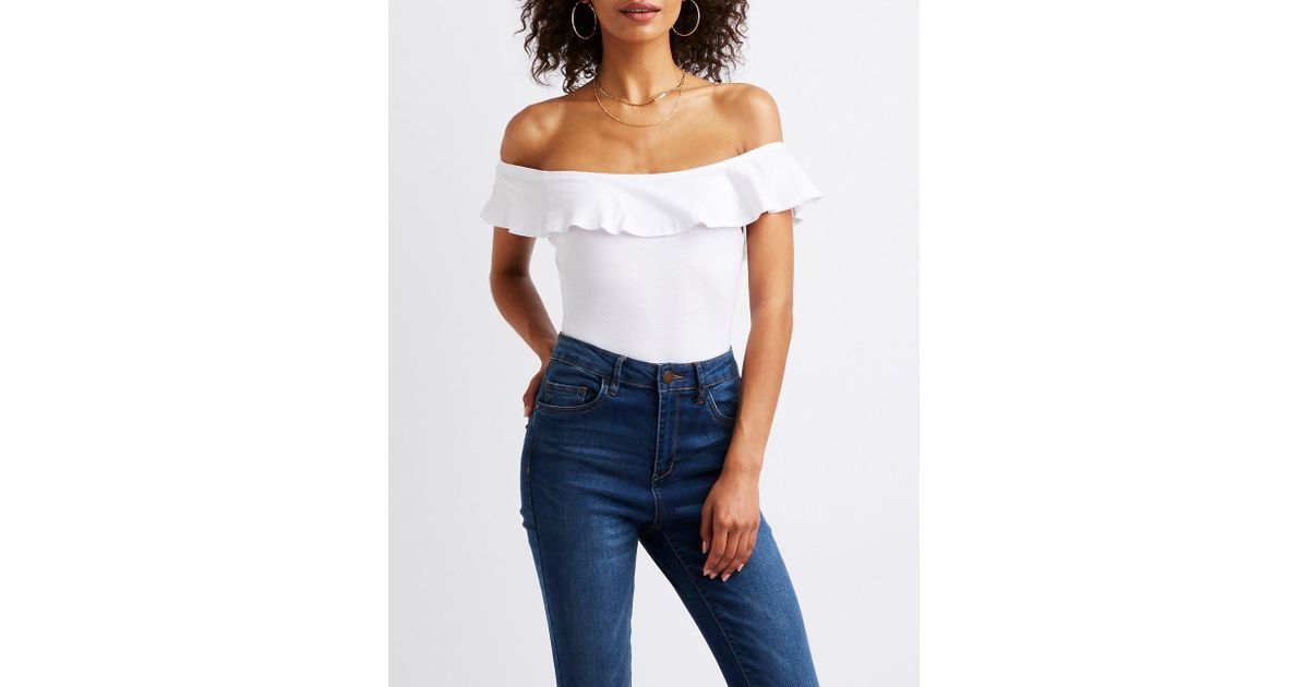 e5a6033d0abb2a Lyst - Charlotte Russe Ruffle Off The Shoulder Bodysuit in White