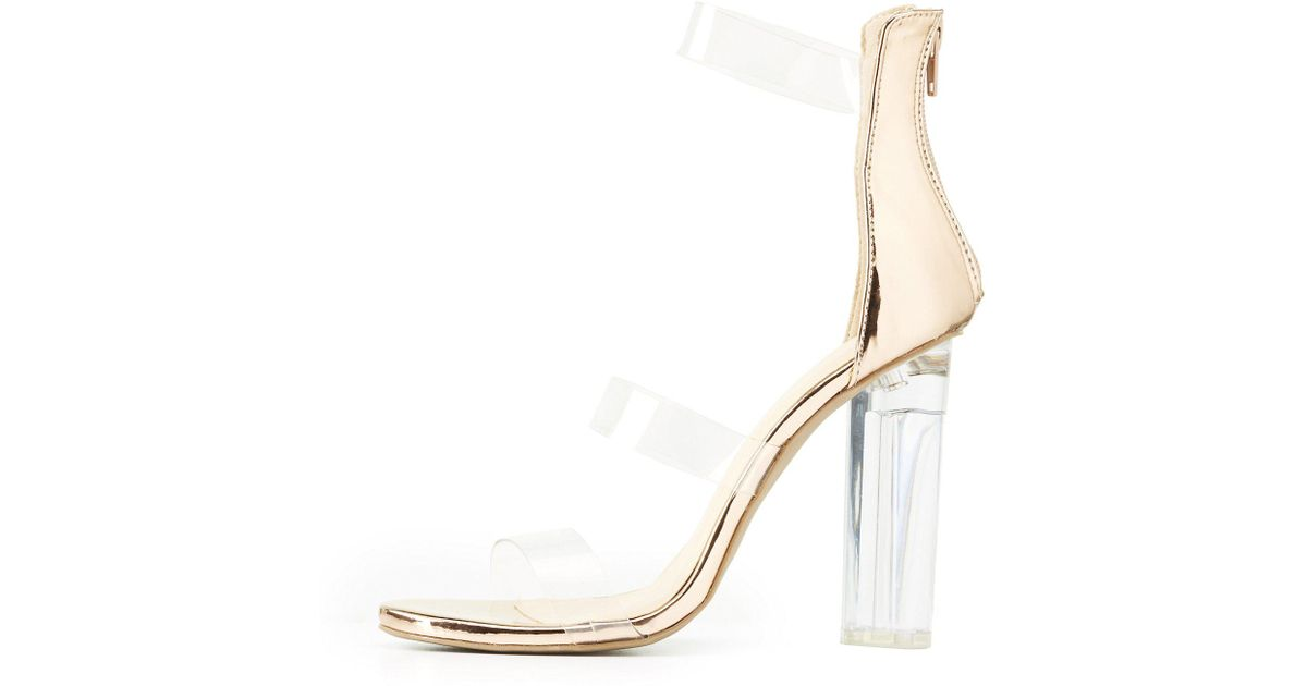 Clear Charlotte Russe Heel Strap Sandals Metallic Kzioxptu Lyst Ankle rxthCsQd