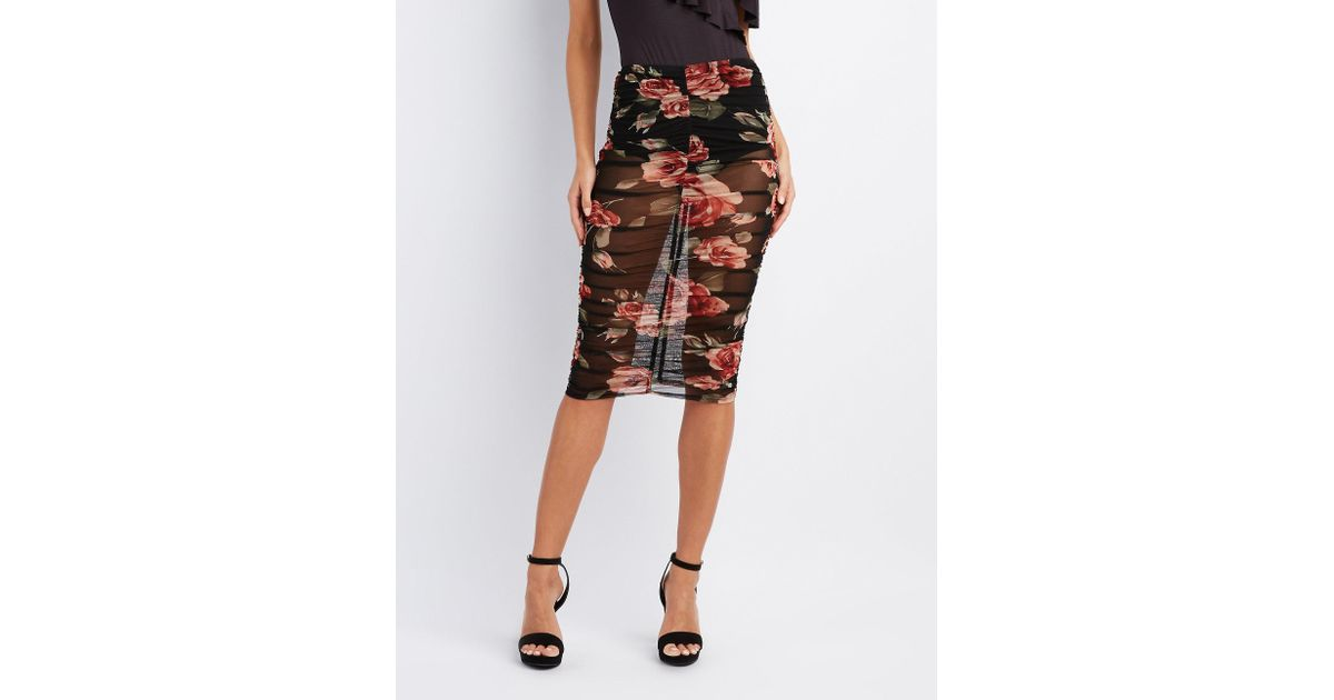 7a23d34c00 Lyst - Charlotte Russe Floral Mesh Ruched Pencil Skirt in Black
