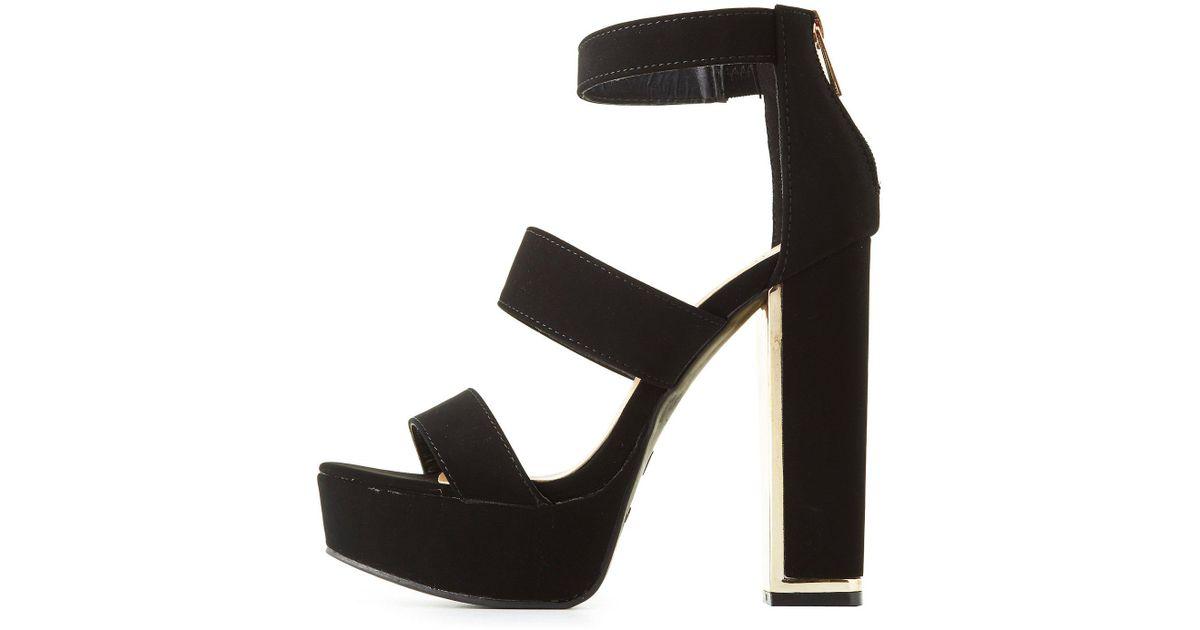 8507deb45a6 Lyst - Charlotte Russe Bamboo Three-piece Platform Sandals in Black