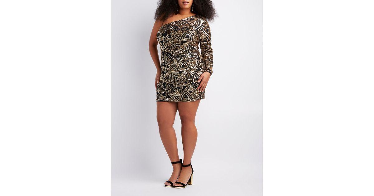 Lyst Charlotte Russe Plus Size Sequins One Shoulder Bodycon Dress