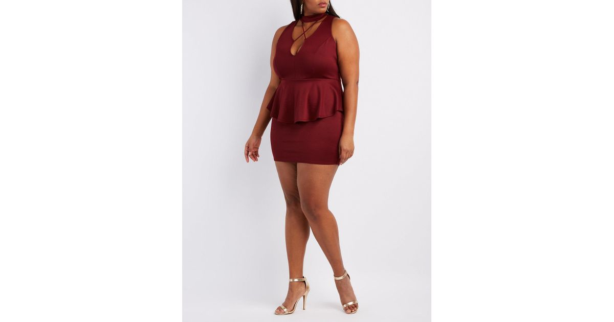 Lyst Charlotte Russe Plus Size Strappy Mock Neck Peplum Dress In Red