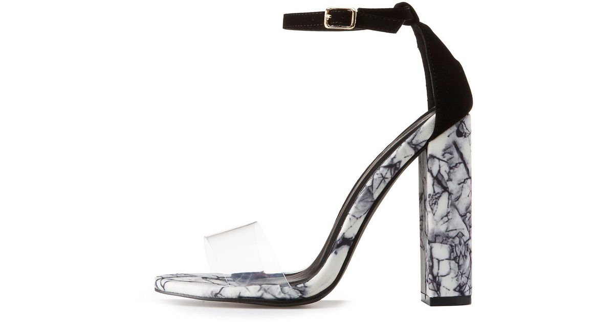 fd97f05f75 Lyst - Charlotte Russe Marble Print Two-piece Dress Sandals in White