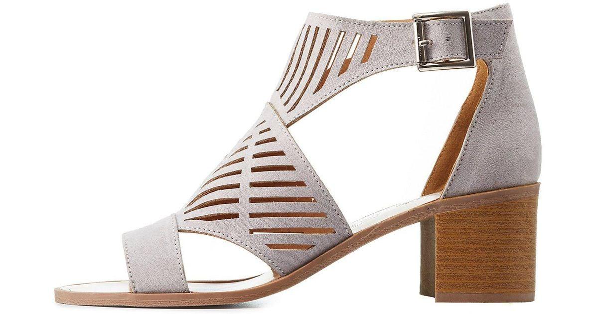 b0106854cd Lyst - Charlotte Russe Laser Cut Block Heel Sandals in Gray