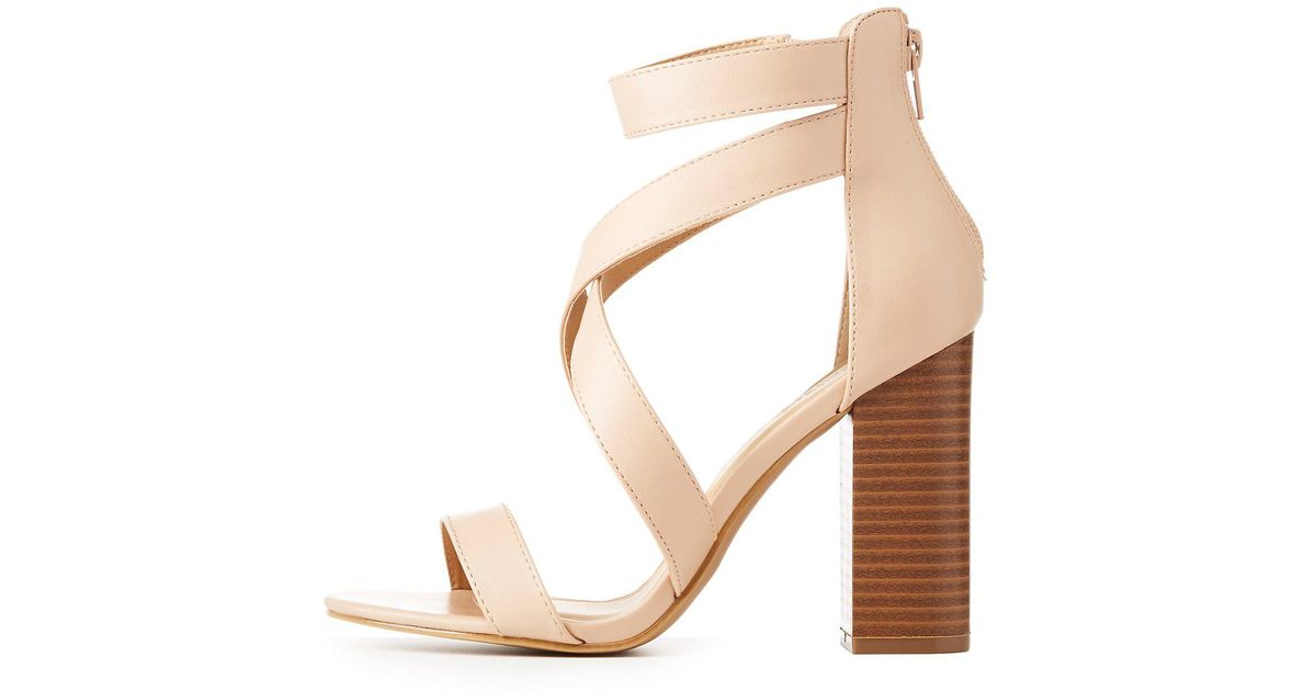 d2b57066b4e7 Lyst - Charlotte Russe Caged Block Heel Sandals in Natural