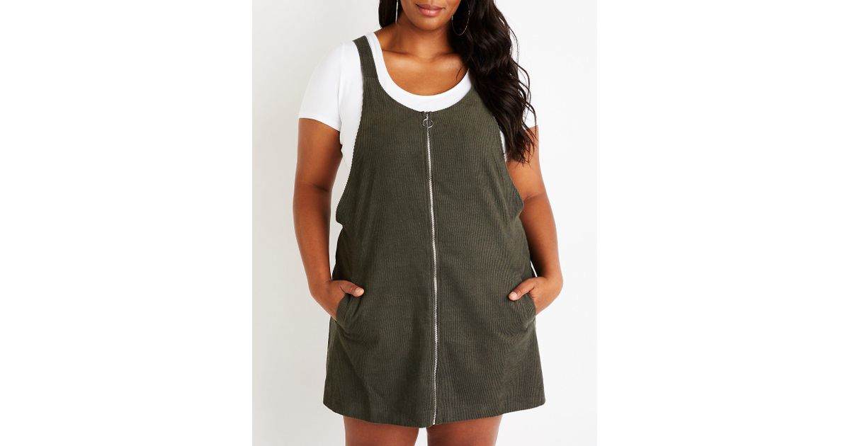 Lyst Charlotte Russe Plus Size Corduroy Overall Dress In Green