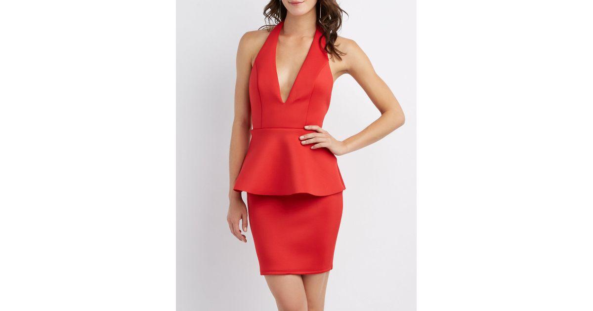 Lyst Charlotte Russe Scuba Peplum Dress In Red