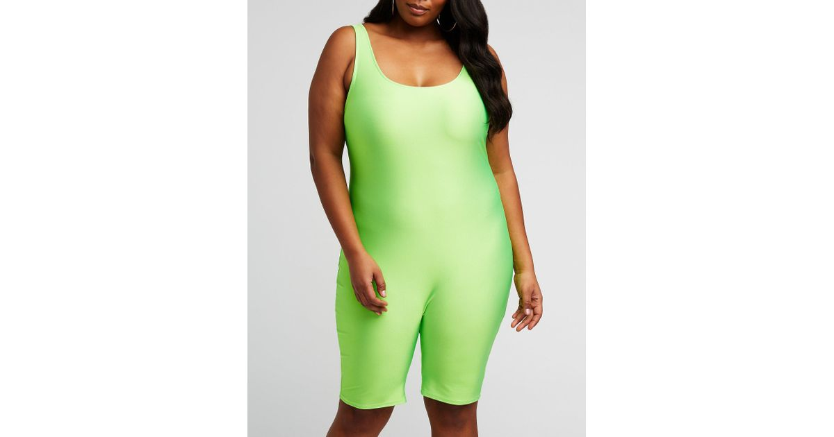 2ff56e4c9975 Lyst - Charlotte Russe Plus Size Neon Bike Short Romper in Green - Save 30%