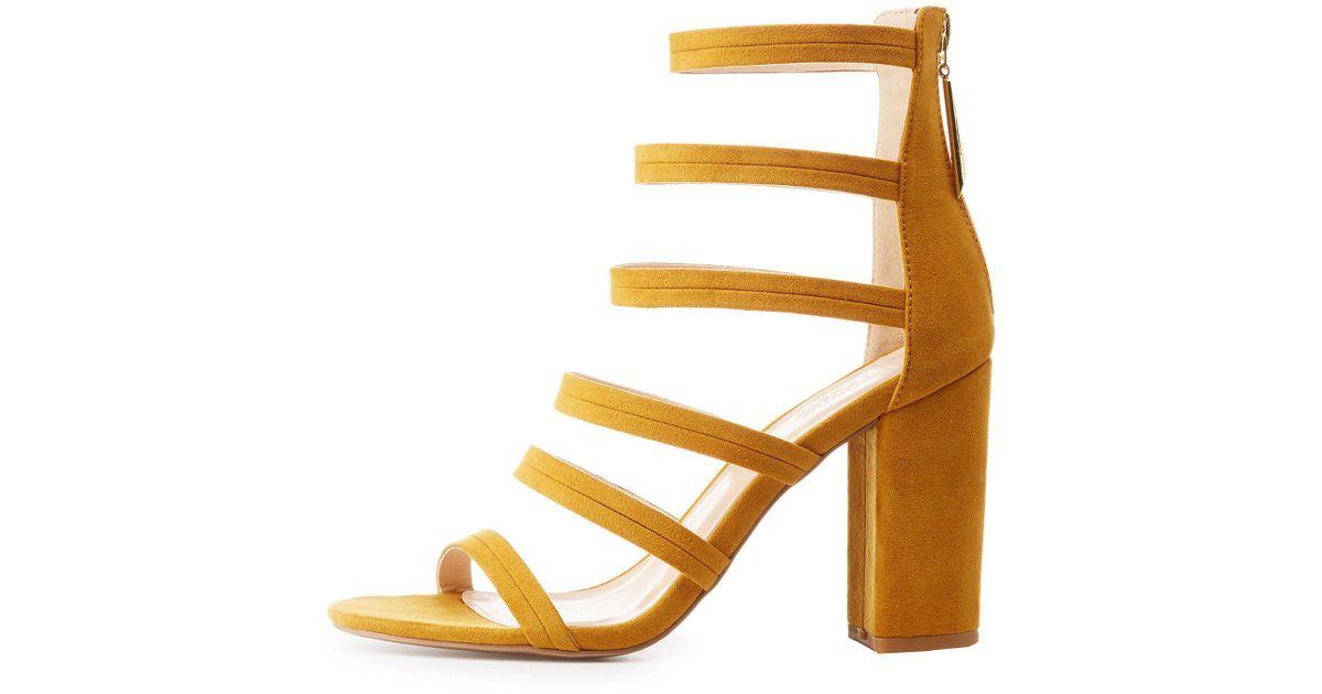 13225fa1141 Charlotte Russe - Orange Caged Block Heel Sandals - Lyst