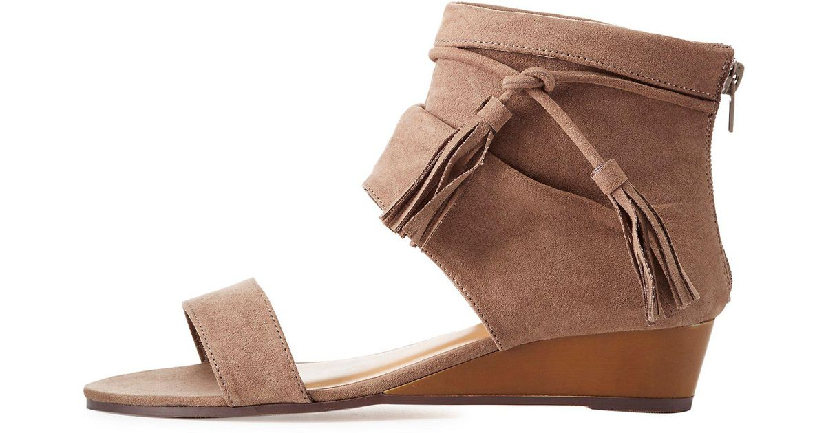 68be1789ee3d Lyst - Charlotte Russe Bamboo Tassel-tied Boot Sandals in Brown