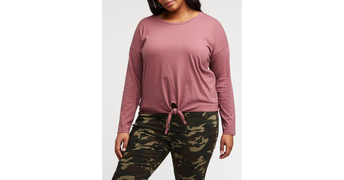 cbab311dc29 Lyst - Charlotte Russe Plus Size Tie Front Tee in Purple