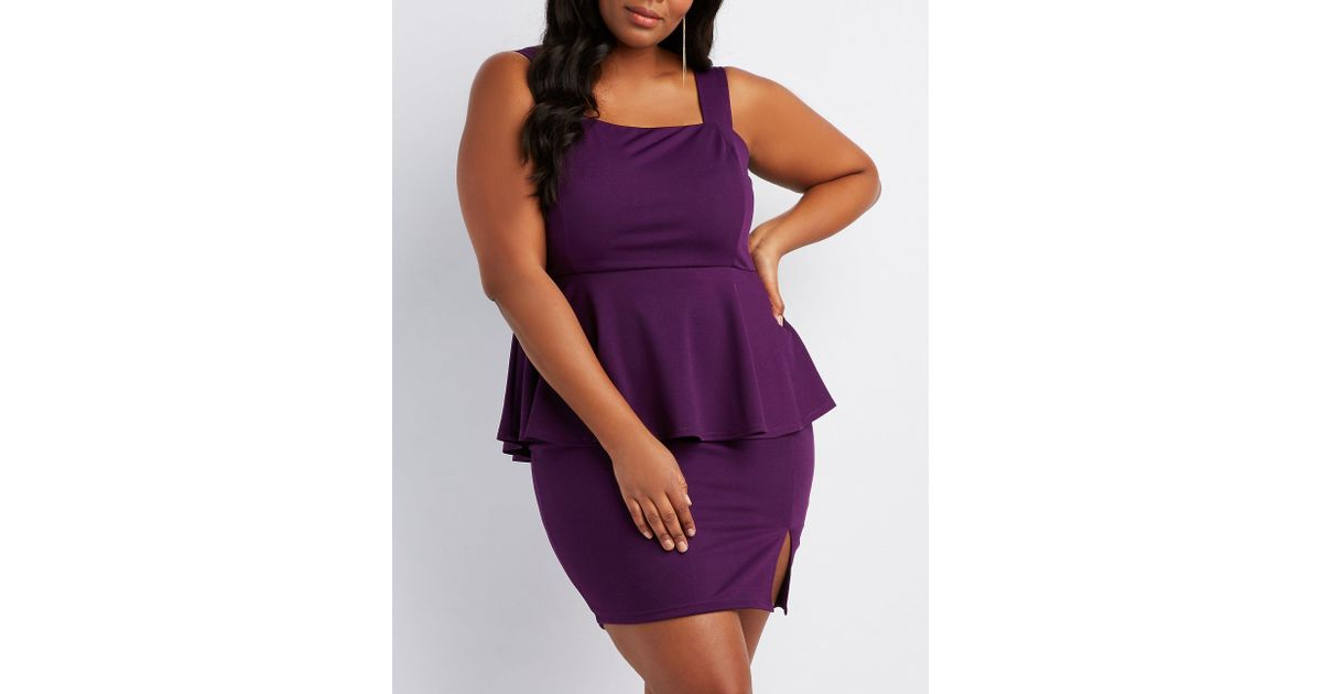 Lyst Charlotte Russe Plus Size Peplum Bodycon Dress In Purple