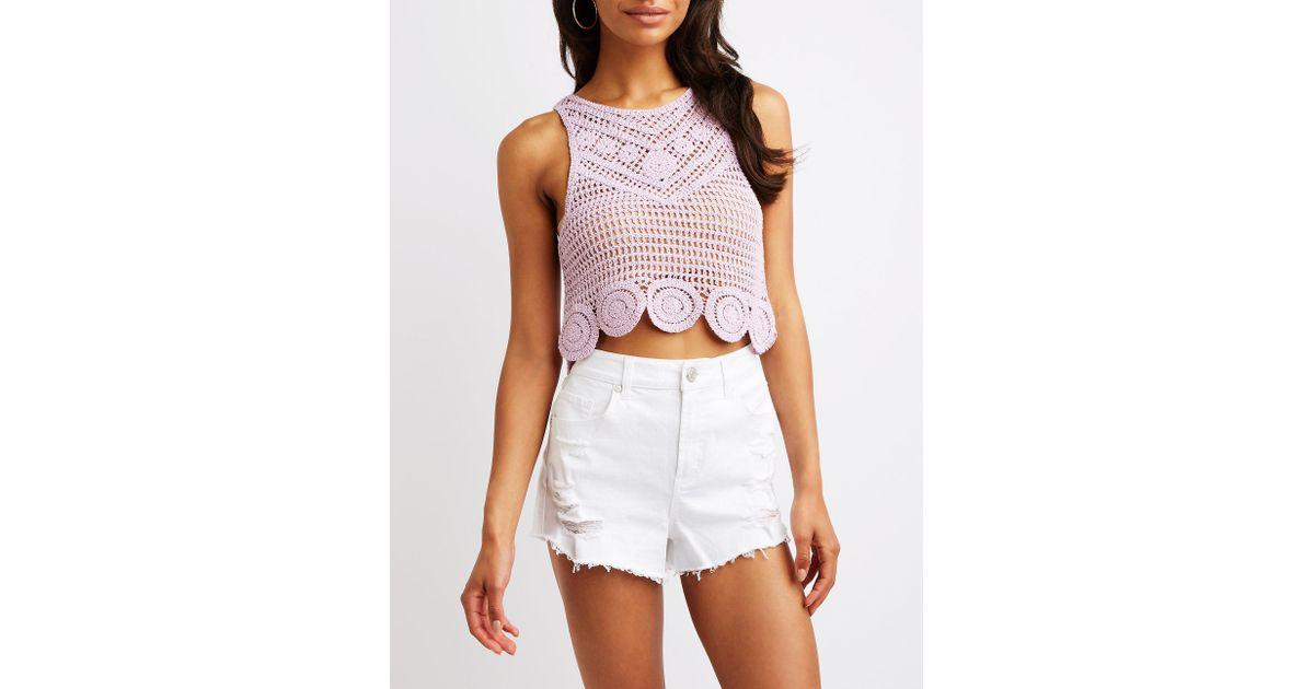 5d4ee53c9cbed Lyst - Charlotte Russe Crochet Crop Top in Purple