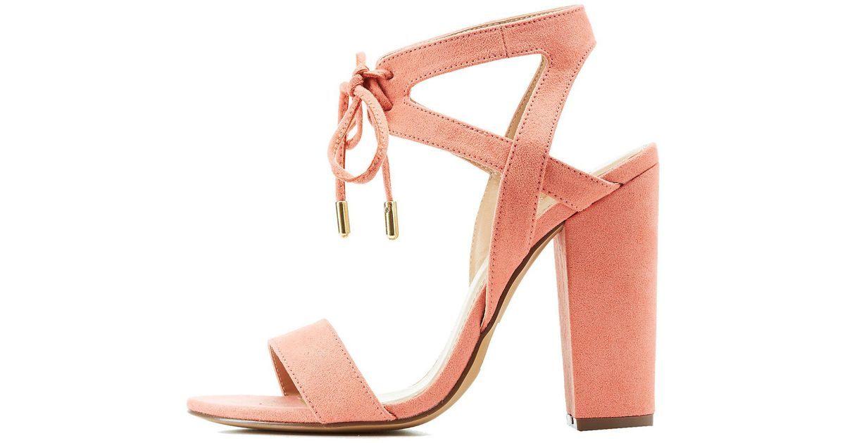 a9160eaf6a7 Lyst - Charlotte Russe Caged Lace Up Sandals in Pink