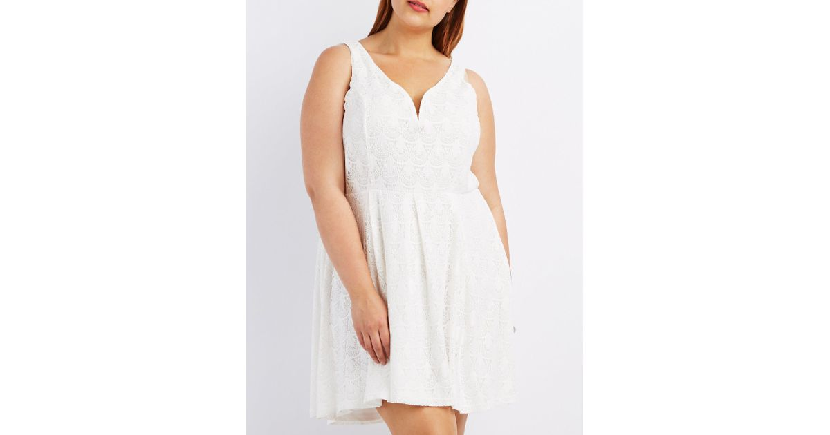 Charlotte Russe - White Plus Size Lace Sleeveless Skater Dress - Lyst
