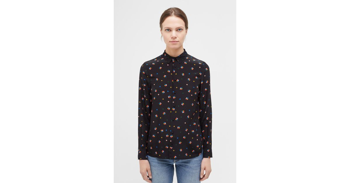 b4948439741 Lyst - Chinti   Parker Black Lucky Clover Silk Shirt in Black