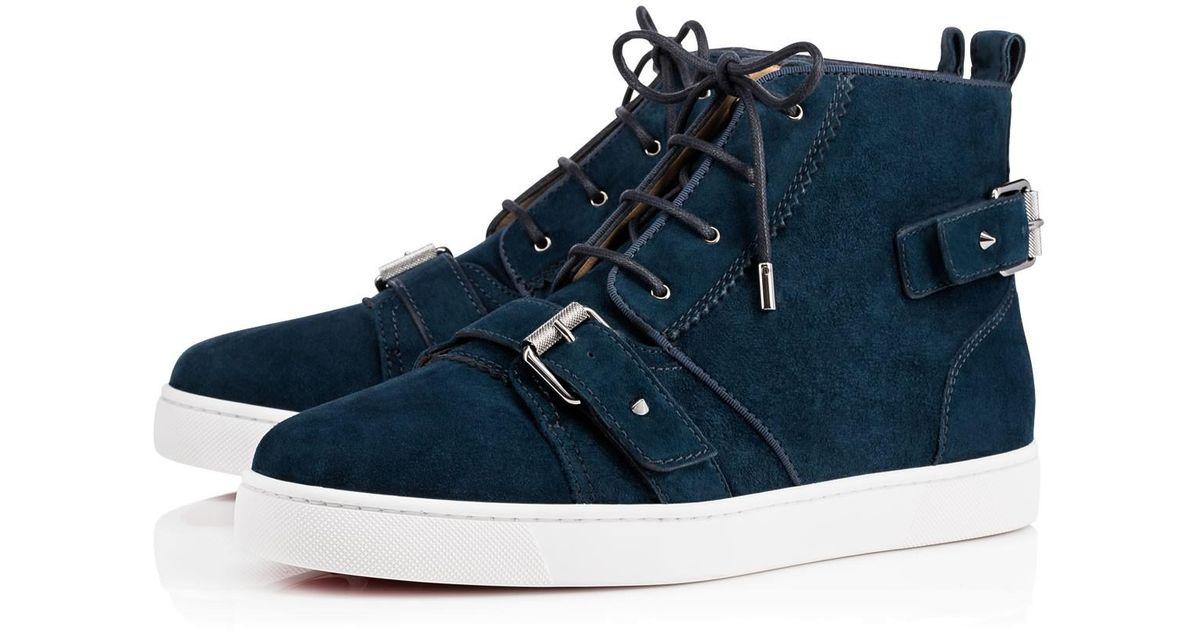 852f0451c6fc ... black silverchristian louboutin bridal shoes 271ae b2ee7  coupon code  for lyst christian louboutin nono strap flat in blue for men fe88e 27ba9