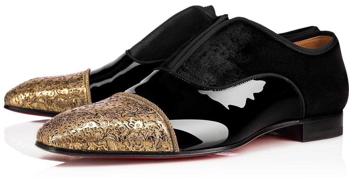 ab36cab850c2 Christian Louboutin Alpha Male Patent Gg Gold black Fabric And Calfskin in  Metallic for Men - Lyst